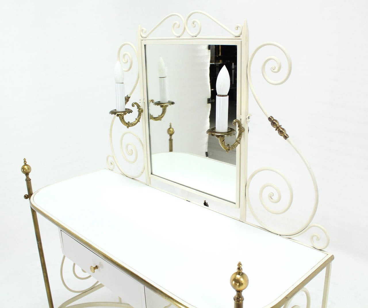Decorative Vanity Dressing Table Milk Glass Top Metal Scrolls Brass Hardware For Sale 3