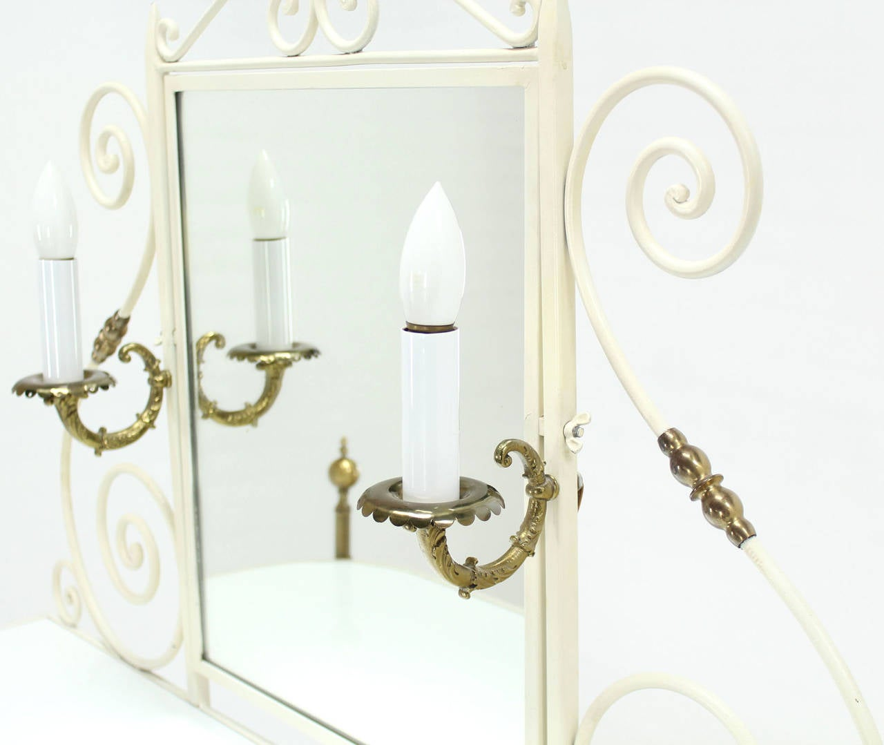 Decorative Vanity Dressing Table Milk Glass Top Metal Scrolls Brass Hardware For Sale 4
