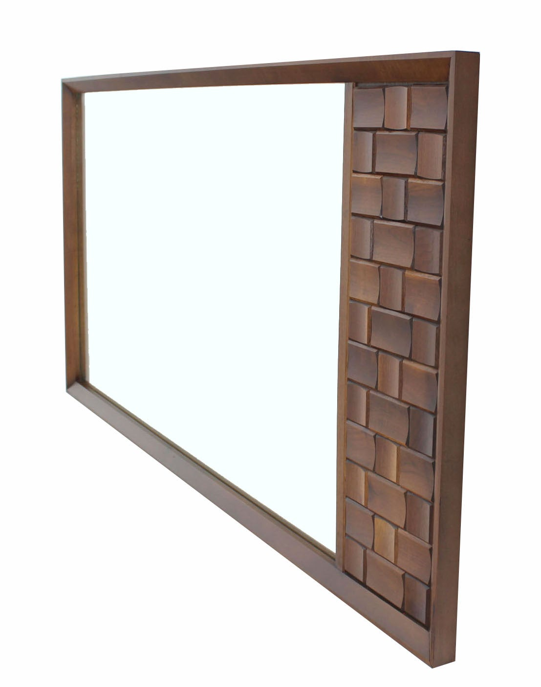 American Large Walnut Frame Mirror with Solid Walnut Carved Panel For Sale
