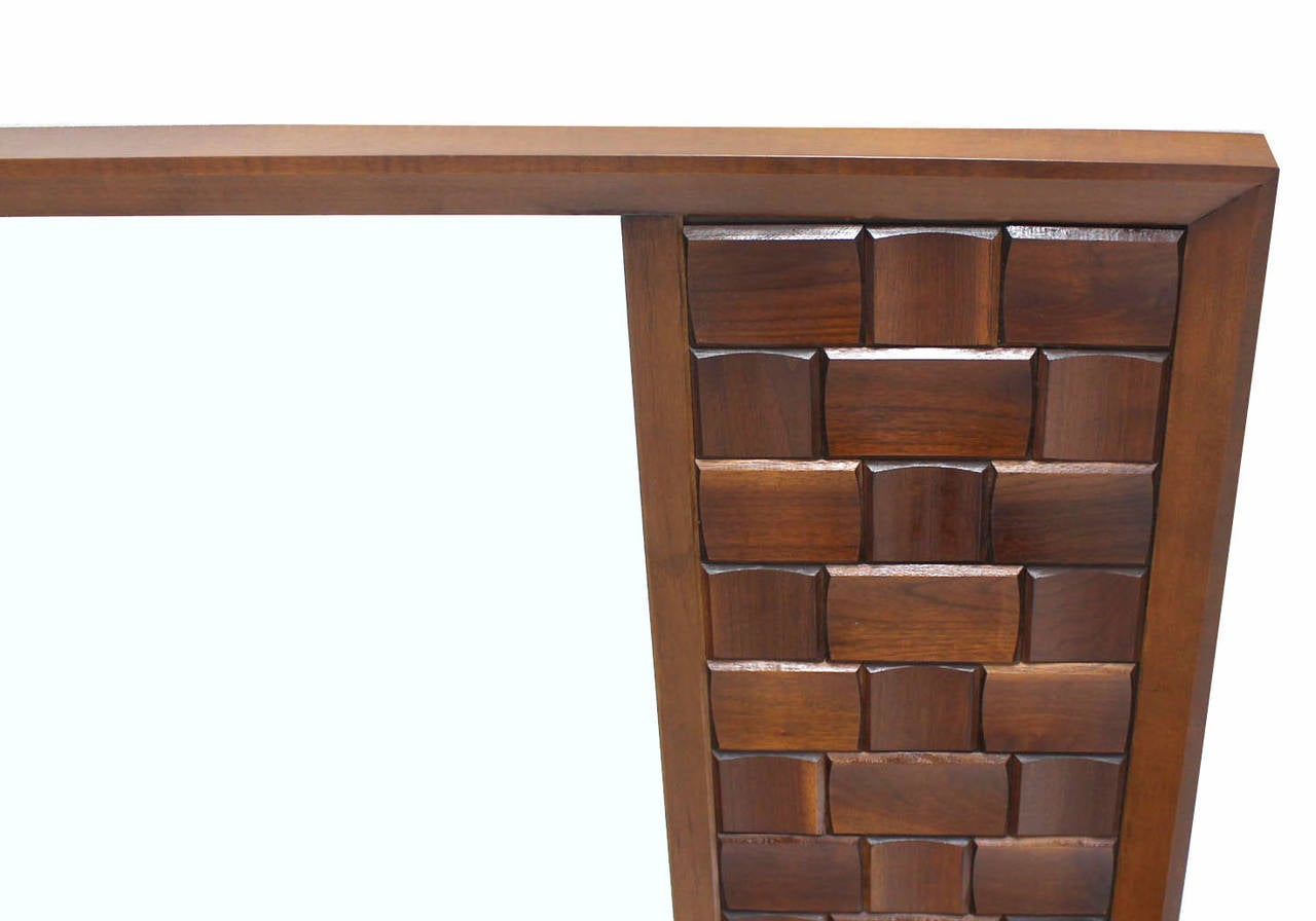 Mid-Century Modern Large Walnut Frame Mirror with Solid Walnut Carved Panel For Sale