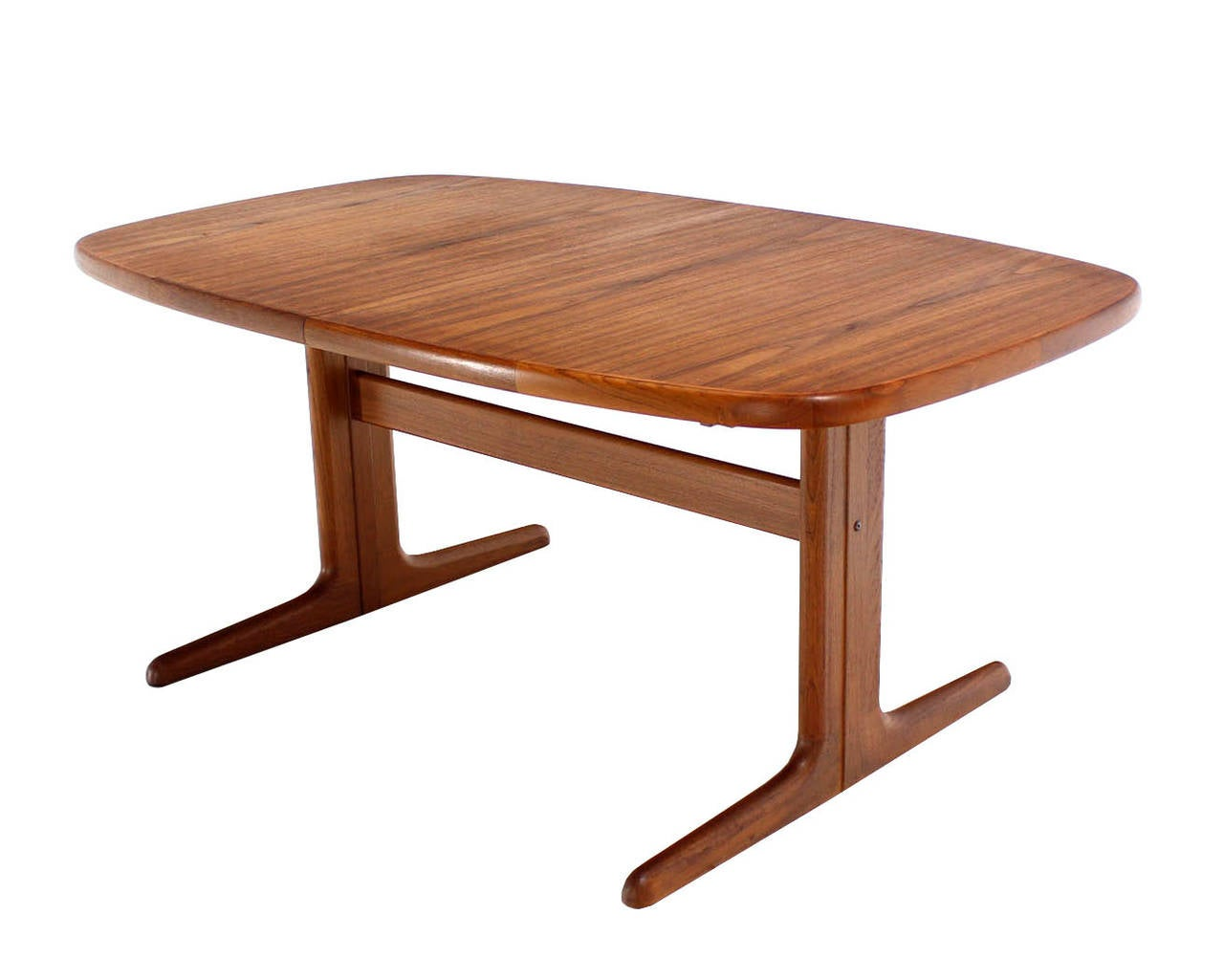 Danish modern teak dining room table with two leaves at for Danish modern dining room table