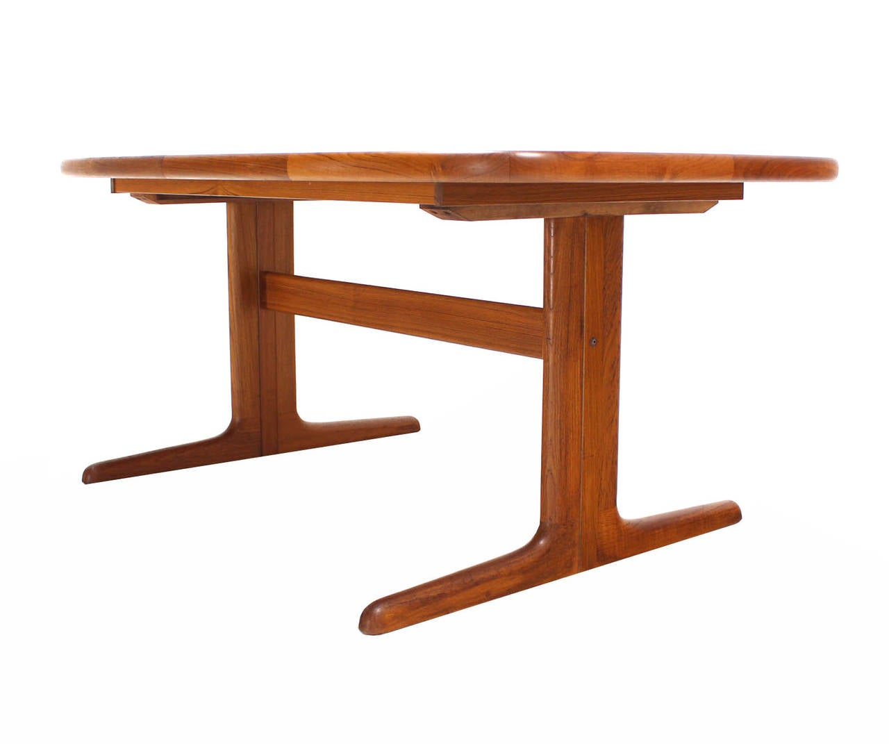 Danish modern teak dining room table with two leaves at for Dining room tables with leaves