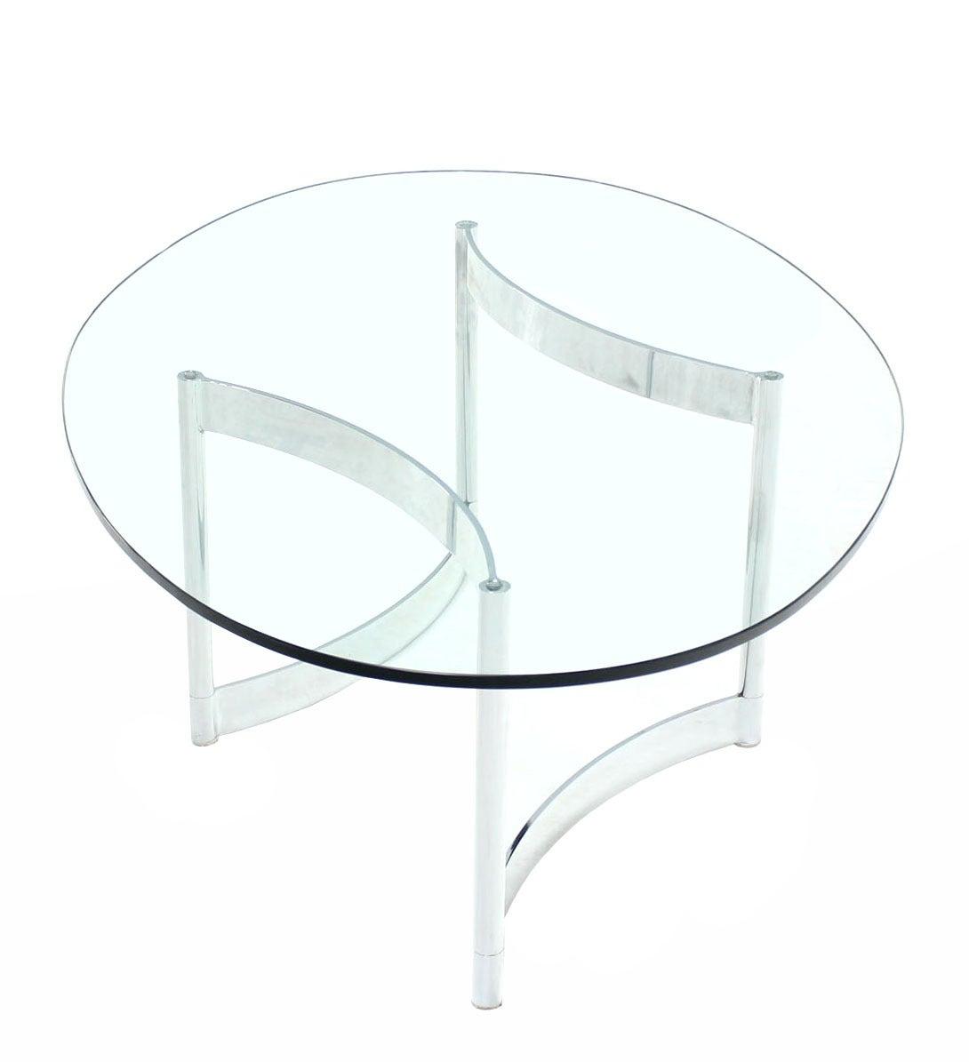 Oval Glass Top Coffee Table With Metal Base: Chrome And Glass Oval Adjustable-Base Coffee Table At 1stdibs