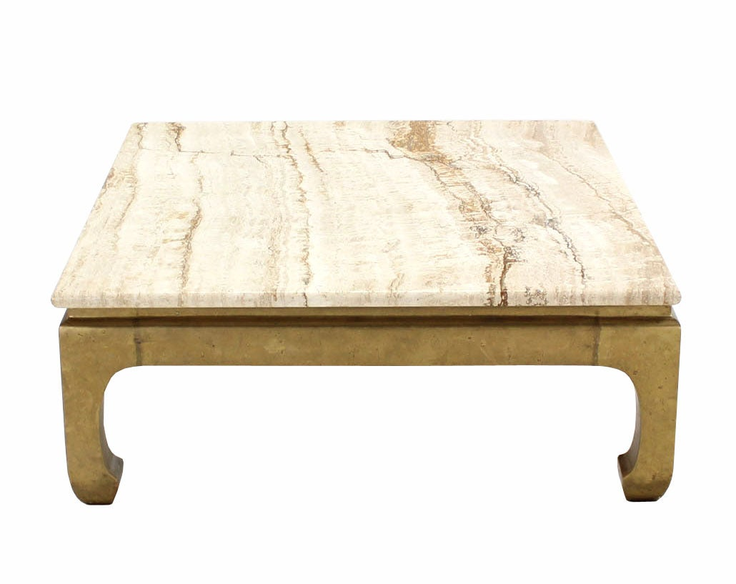 Solid brass base marble top square coffee table for sale at 1stdibs Coffee tables with marble tops