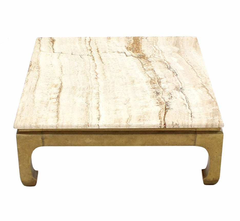 Solid brass base marble top square coffee table for sale for Marble top coffee table rectangle
