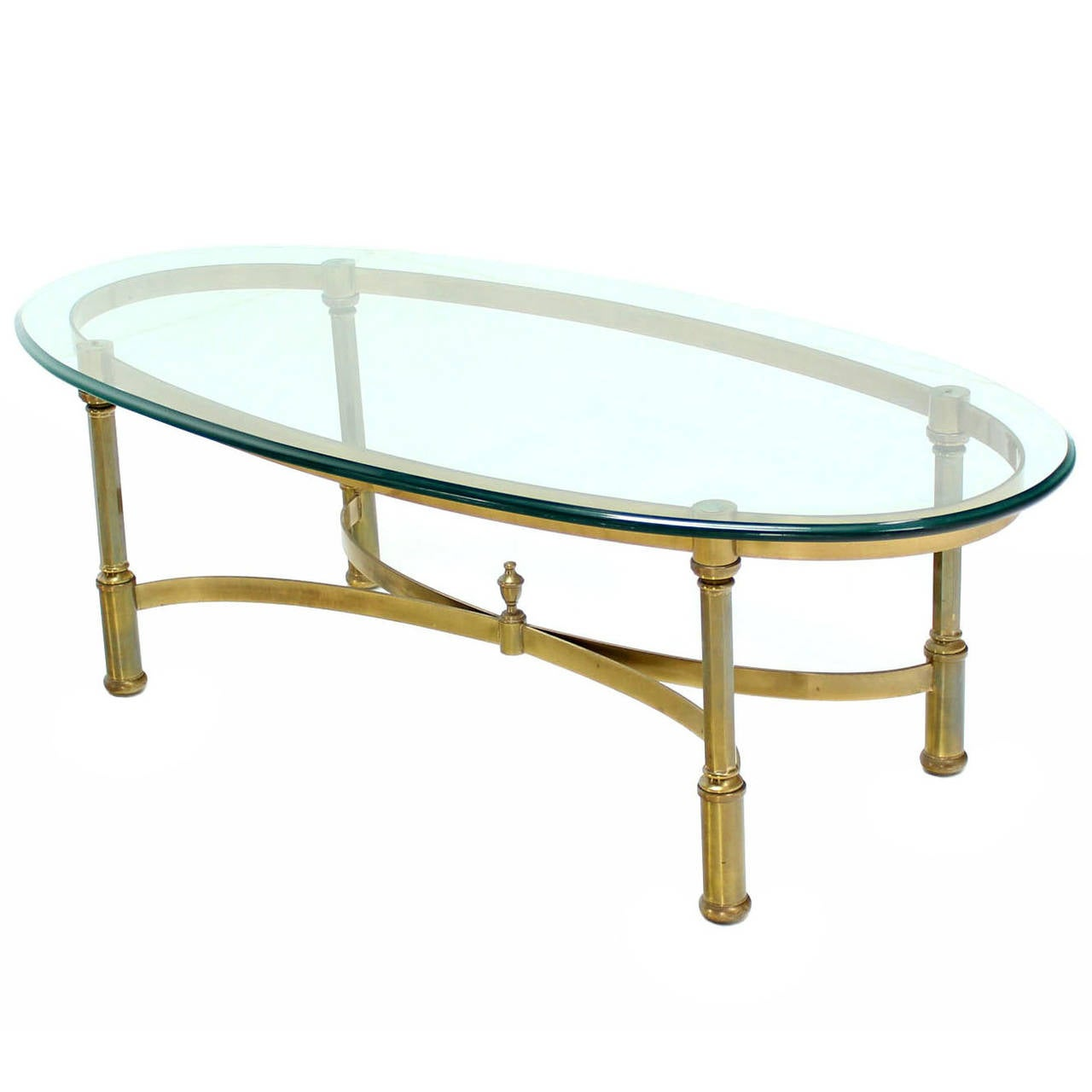 Oval brass and glass coffee table in style of jansen at 1stdibs Glass oval coffee tables