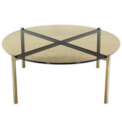 Smoked Glass and Bronze X-Base Round Coffee Table