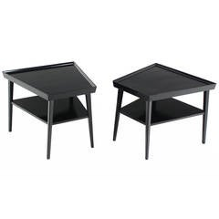 Pair of Black Lacquer Trapezoid Shape End Tables