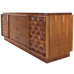 Walnut Credenza with Carved Basket Weave Pattern Doors