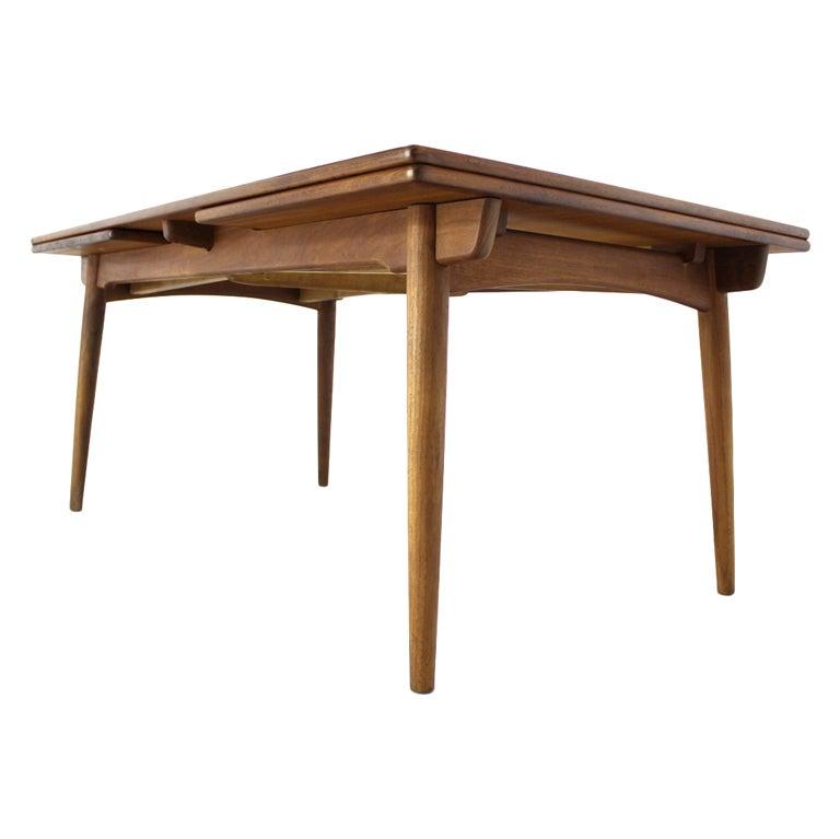 Danish Modern Teak Refractory Dining Table By H Wegner At