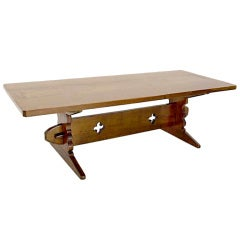 Thick Solid Cherry-Top Harvest or Trestle Dining Table