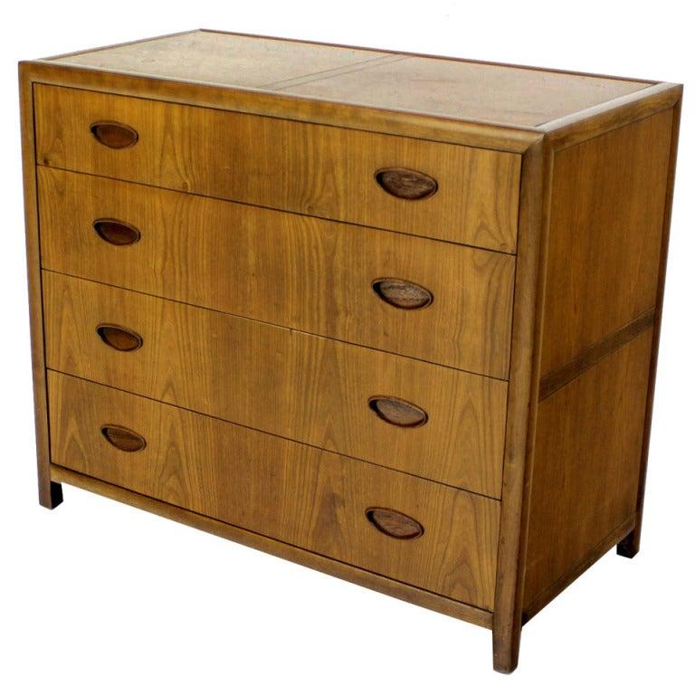 Baker Mid Century Modern Light Walnut Finish Bachelor Chest or Dresser