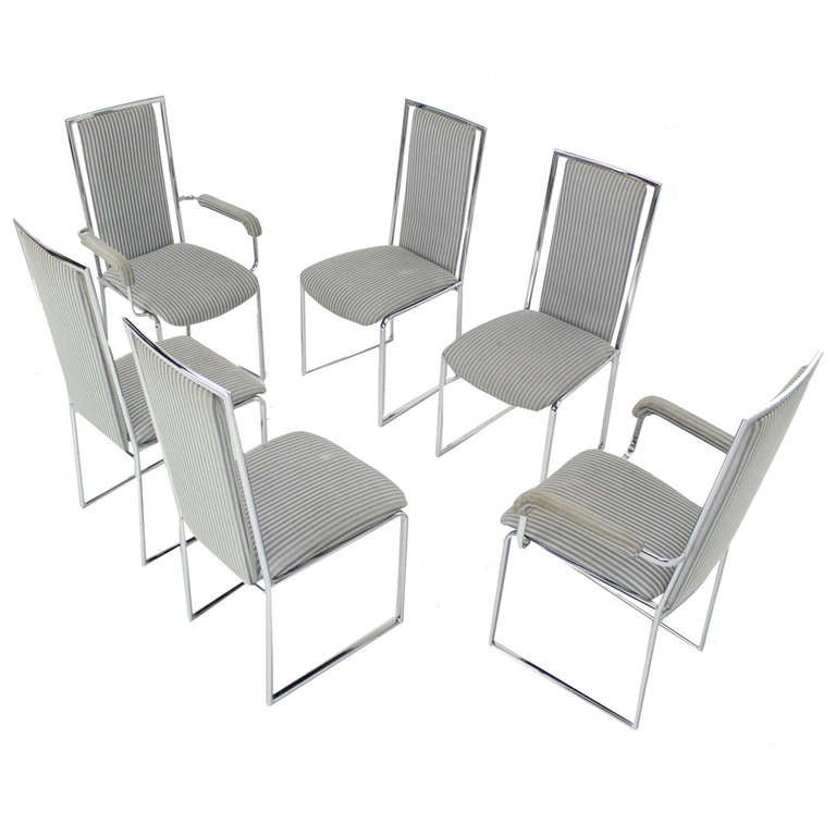 Awesome Set Of Six Mid Century Modern Chrome Dining Chairs 1