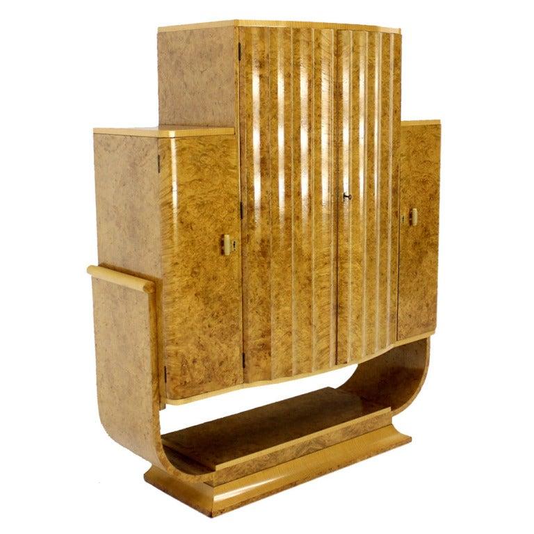 Art Deco Liquor Burl Wood Cabinet Bar W Bakelite Pulls At