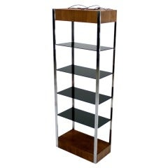 Chrome and Walnut Etagere, 1970s