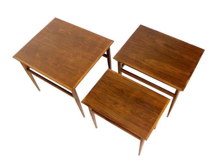 Set of walnut mid century modern nesting side end tables