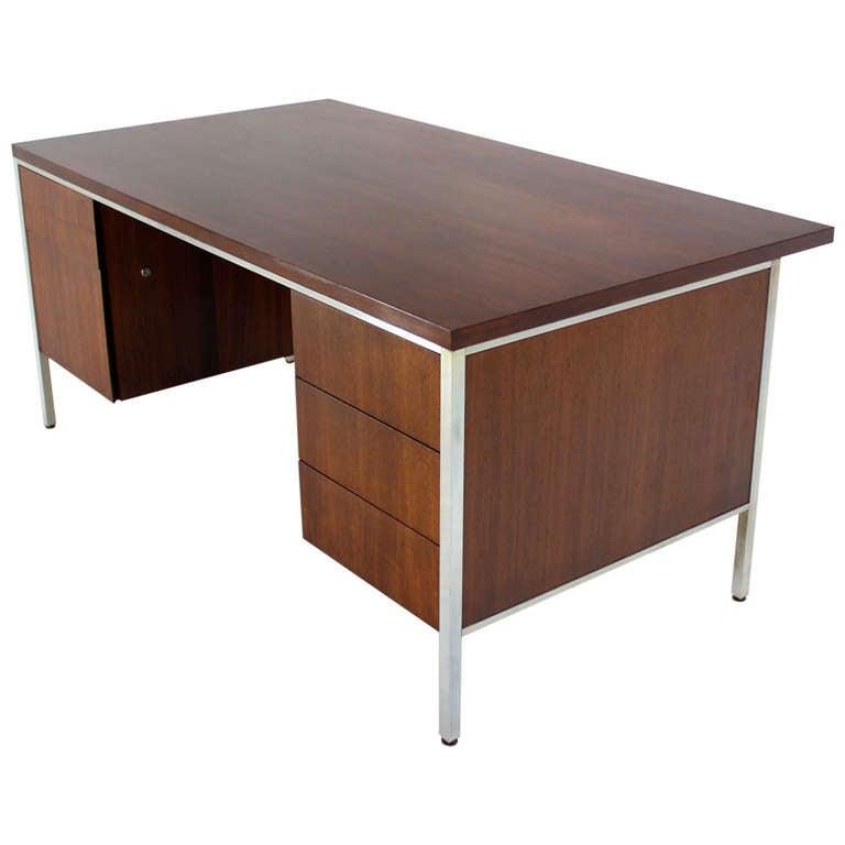 Walnut And Aluminum Mid Century Modern Large Executive Desk For
