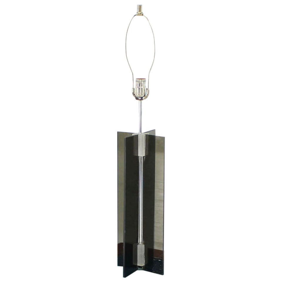 Smoked Lucite X-Base Chrome Table Lamp