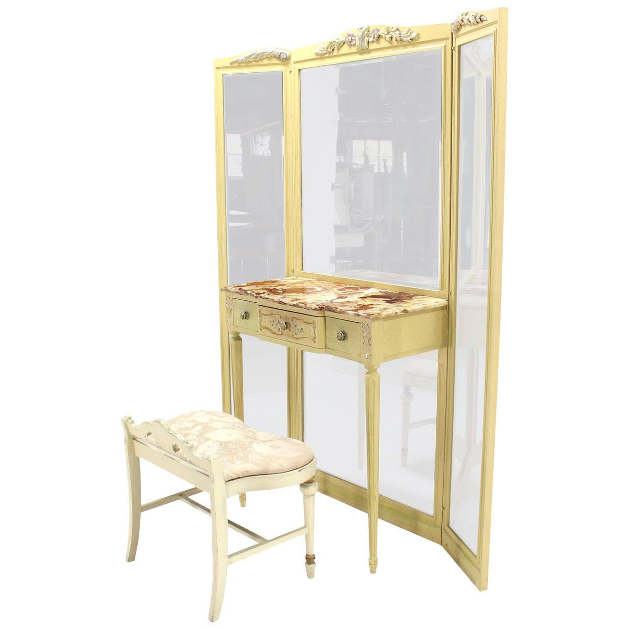 Tri Fold Mirror Vanity With Onyx Top And Bench For Sale At 1stdibs
