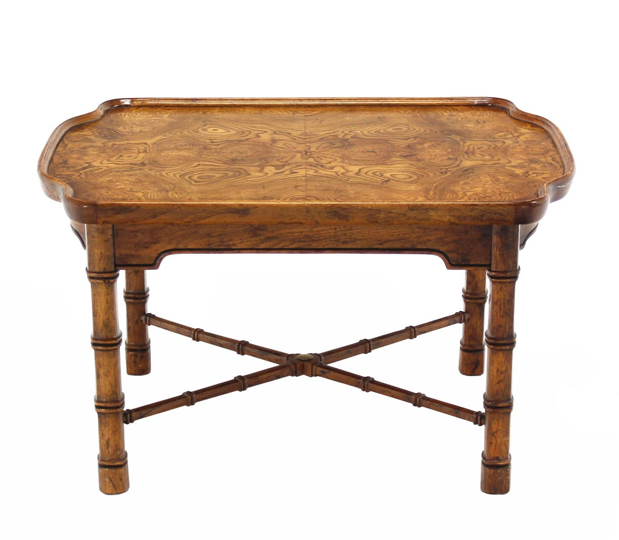 Pair Faux Bamboo Burl Wood Top End Side Tables Stands By
