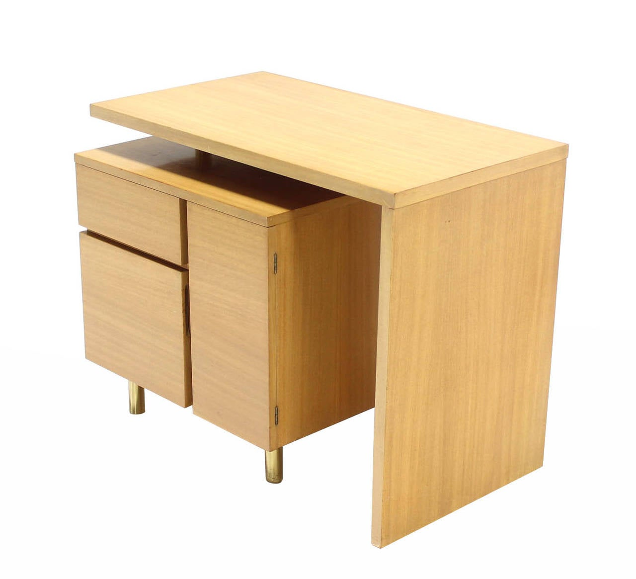Famous revolving folding Mid-Century Modern desk in blond birch.