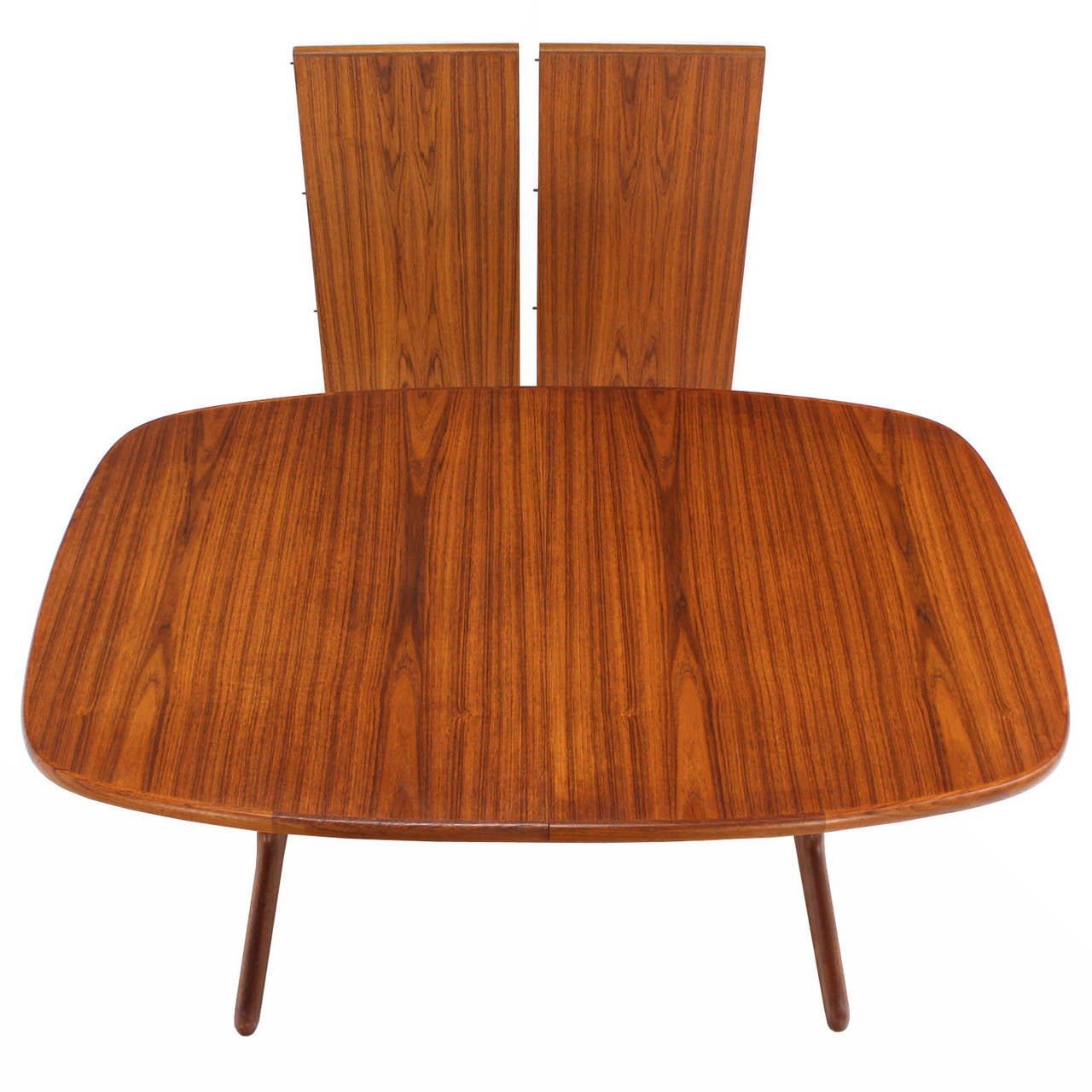 danish modern teak dining room table with two leaves at