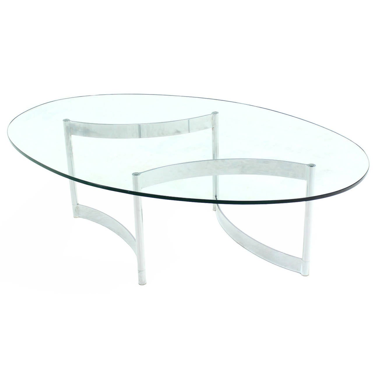 Chrome And Glass Oval Adjustable Base Coffee Table At 1stdibs