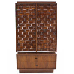 Oiled Walnut Carved Patch Work Doors Two Part High Chest Chifforobe Cabinet