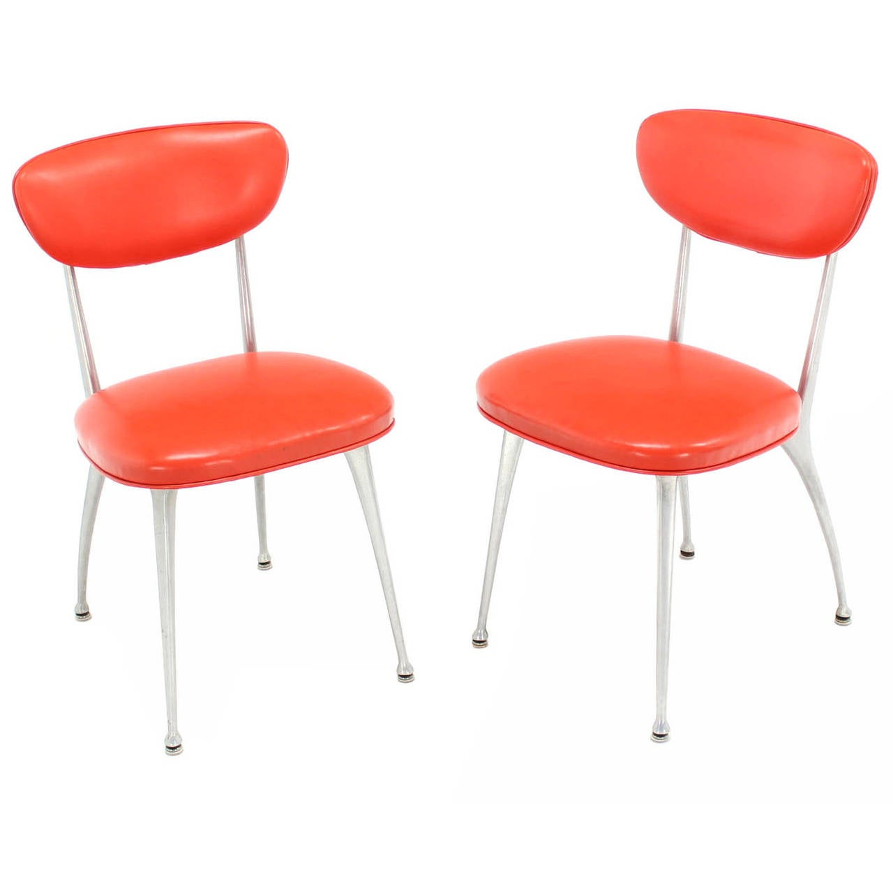 Pair of Red Vinyl Upholstery Cast Aluminum Sculptural Chairs