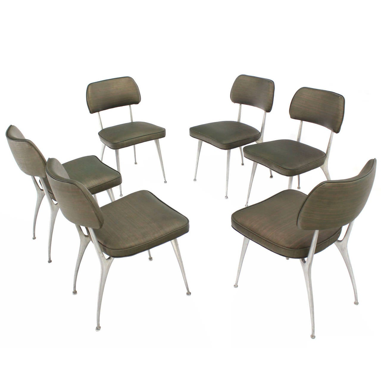 Set of Six Cast Aluminum Dining Chairs