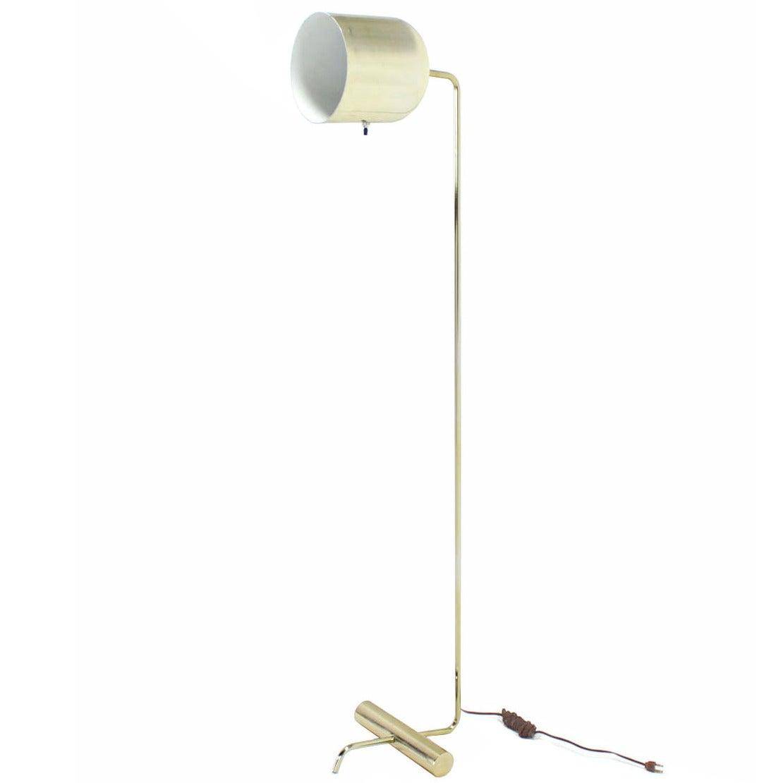 Mid Century Modern Bent Tube Base Adjustable Metal Cup Shape Shade Floor Lamp