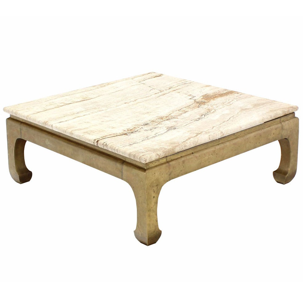 Solid brass base marble top square coffee table at 1stdibs Coffee tables with marble tops