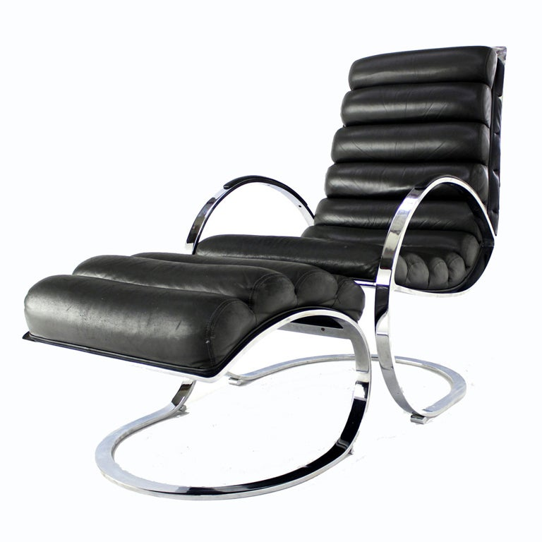 Chrome and Leather MidCentury Modern Lounge Chair and Ottoman at