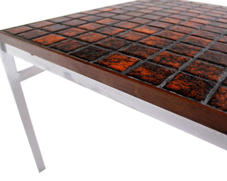 Mid Century Danish Modern Chrome Base Tile And Rosewood Top Square Coffee Table At 1stdibs