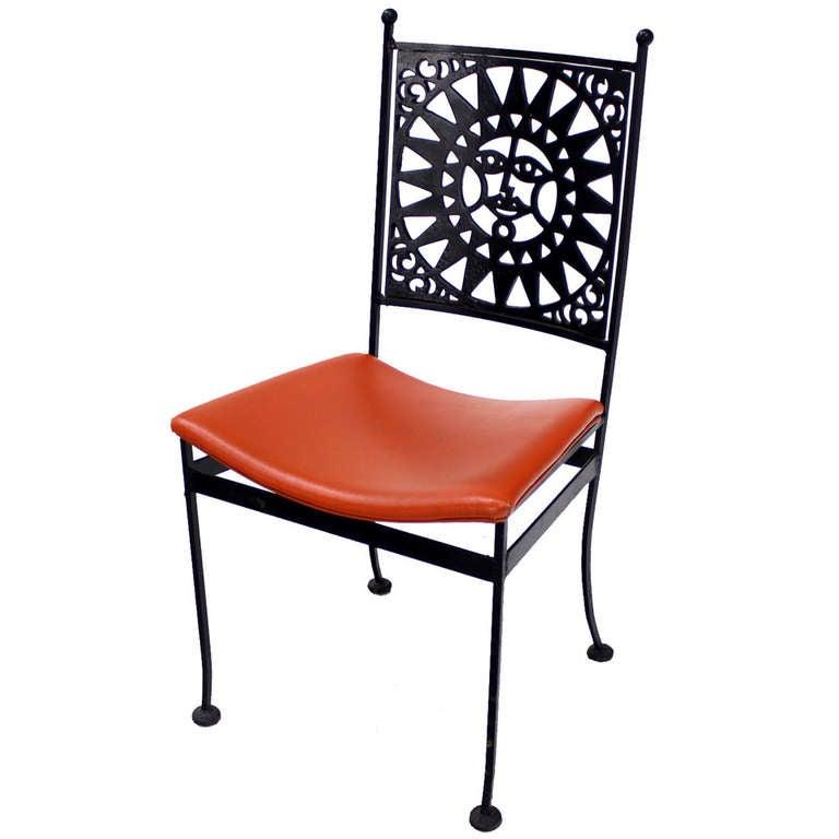 Heavy steel chair with sunburst design mid century modern for sale at