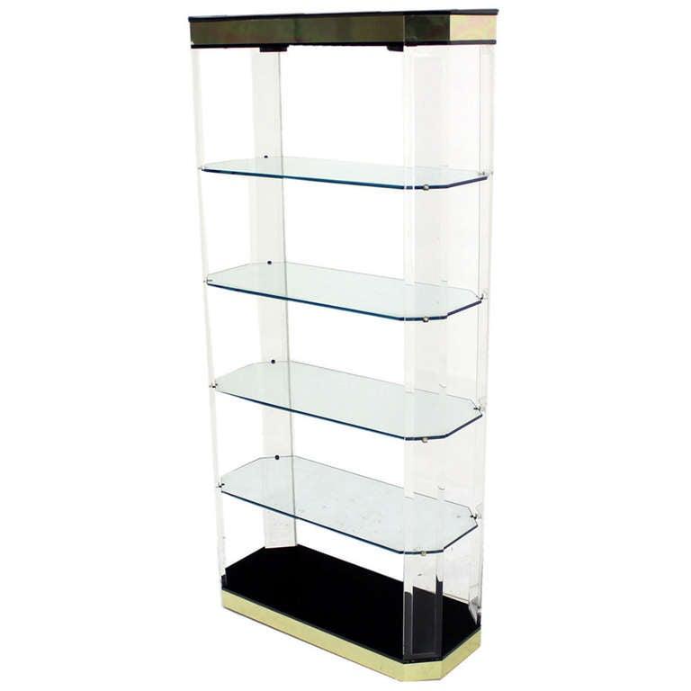 modern lucite brass etagere shelving shelf vitrine wall. Black Bedroom Furniture Sets. Home Design Ideas