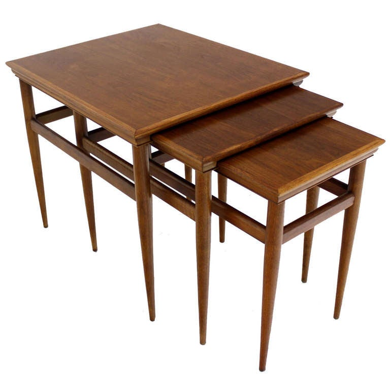 Set of walnut mid century modern nesting side end tables