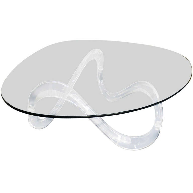 Kidney Shaped Glass Top Lucite Base Coffee Table For