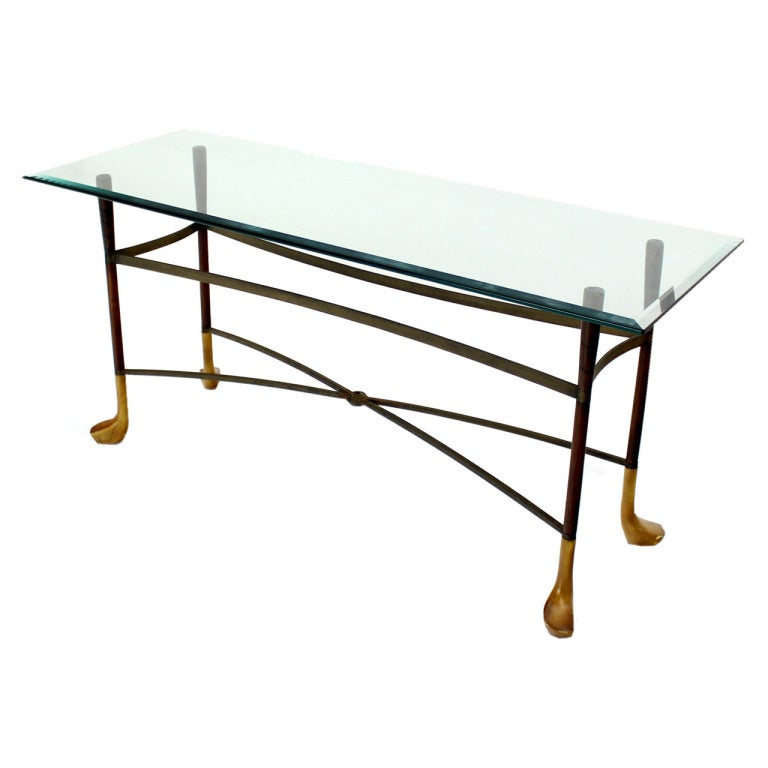 Golf clubs theme mid century modern console table at 1stdibs for Golf coffee table