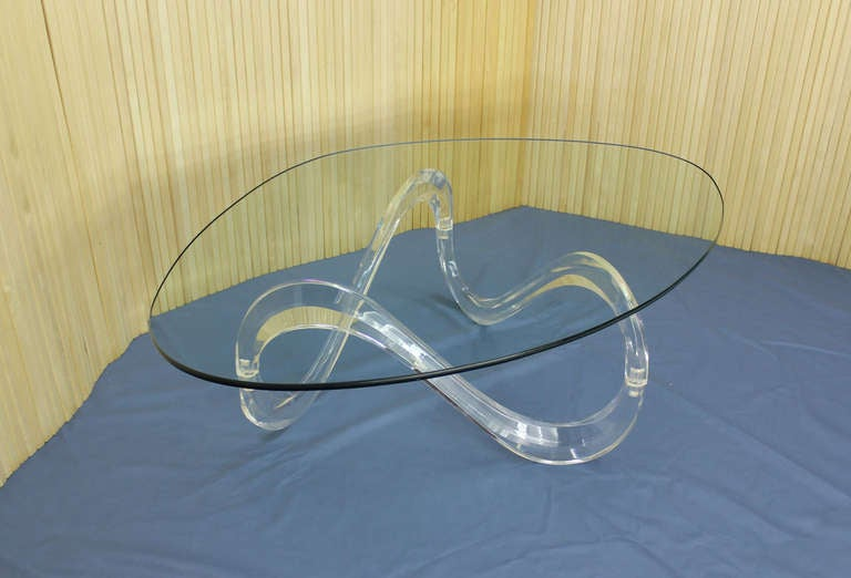 Kidney Shaped Glass Top Lucite Base Coffee Table 2