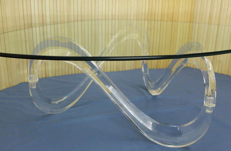 Kidney Shaped Glass Top Lucite Base Coffee Table For Sale At 1stdibs
