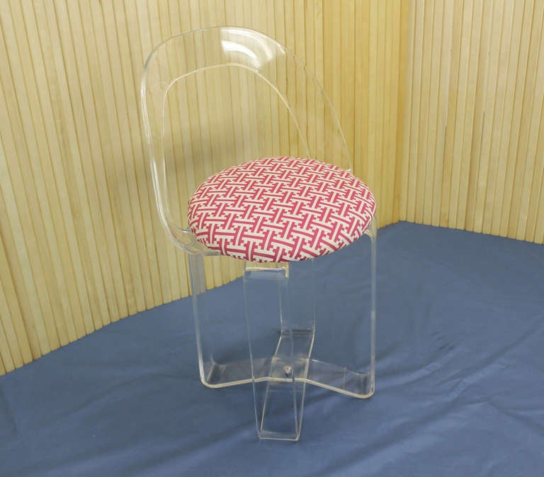 Mid century modern lucite vanity chair or piano stool at 1stdibs