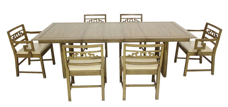 Mid century oriental modern dining table set with six for Oriental dining room furniture for sale