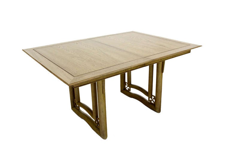 Mid century oriental modern dining table set with six for Oriental dining table and chairs
