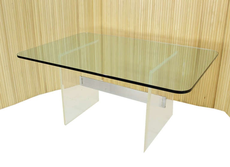Mid Century Modern Thick Glass Top And Lucite Base Conference Table For Sale