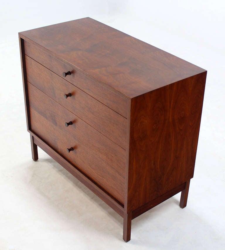 Mid Century Modern Walnut Four Drawer Bachelor Dresser 2