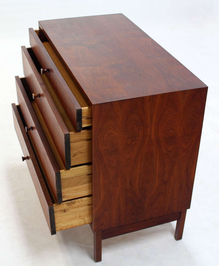 Lacquered Mid Century Modern Walnut Four Drawer Bachelor Dresser For Sale