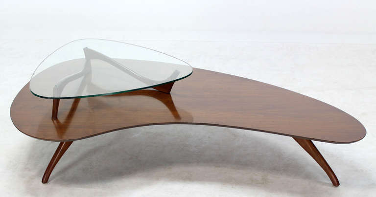 Mid-Century Modern, Kidney Organic Shape, Walnut Coffee Table with Glass Top 3