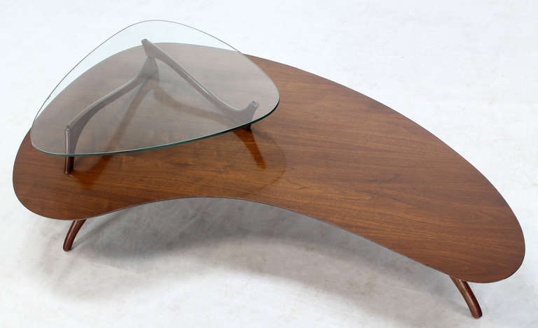 Mid-Century Modern, Kidney Organic Shape, Walnut Coffee Table with Glass Top 5