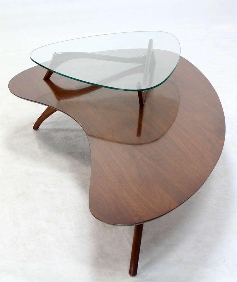 Mid Century Modern Kidney Organic Shape Walnut Coffee Table With Glass Top At 1stdibs